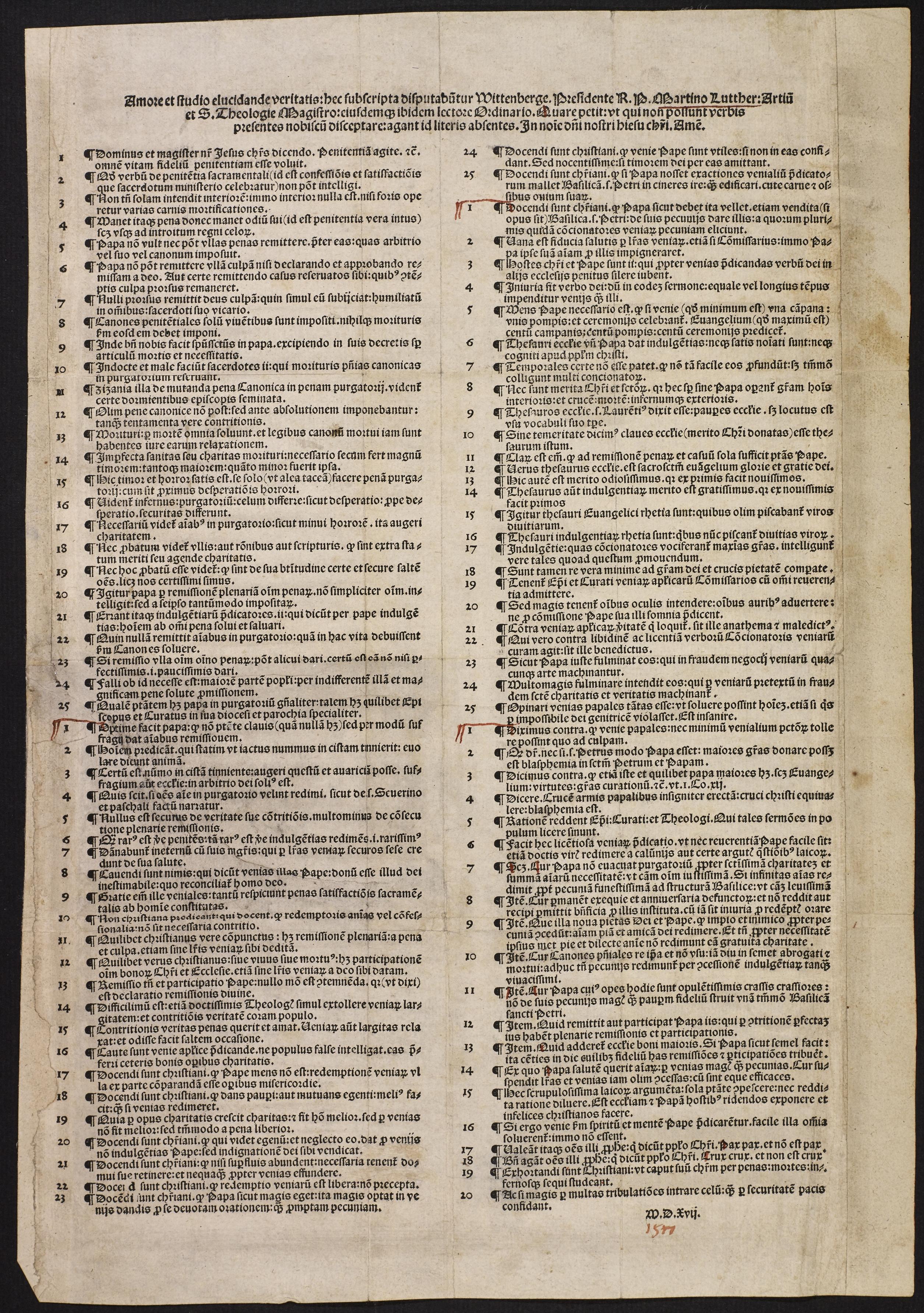 Martin Luther: Einblattdruck, Nürnberg: Hieronymos Höltze, 1517, © Staatsbibliothek zu Berlin - Preußischer Kulturbesitz