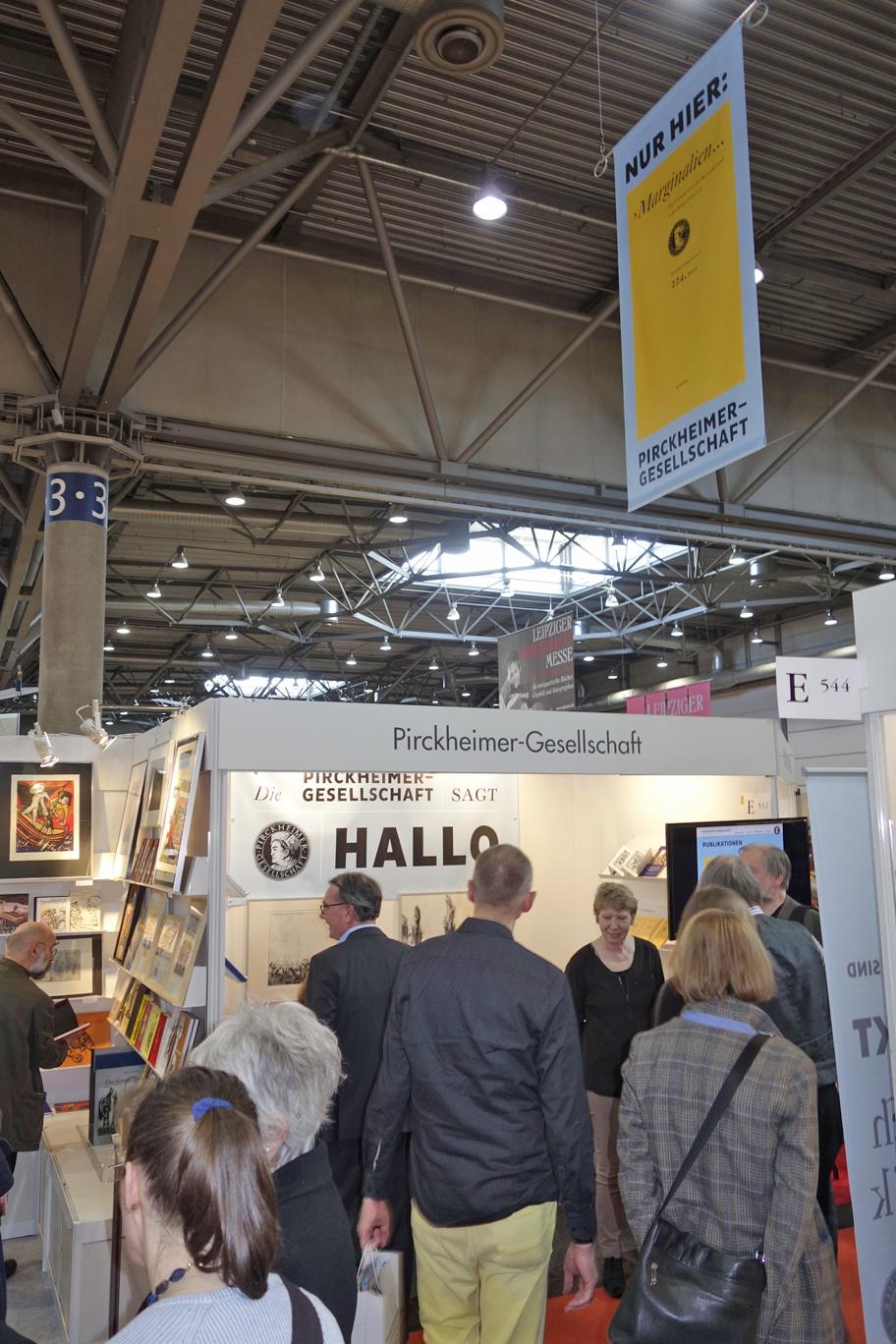Der Stand der Pirckheimer auf der Leipziger Buchmesse 2017.