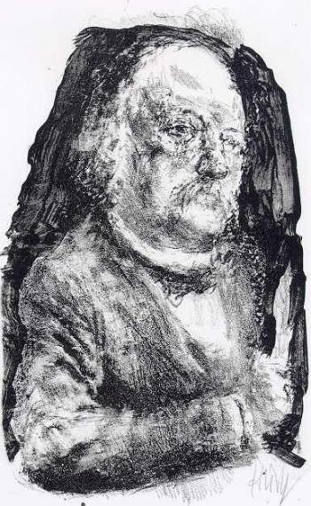 """Lithographie """"Theodor Fontane"""" von Bernhard Heisig"""