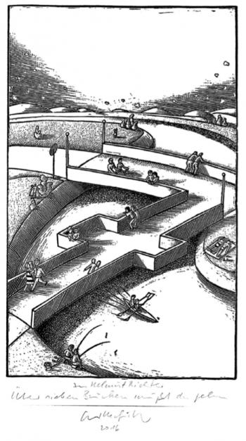 Acrylstich von Egbert Herfurth »Über sieben Brücken musst Du gehn«