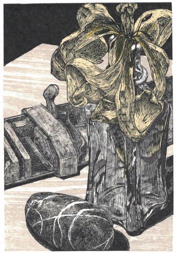 Grafische Beilage Marginalien Heft 225, für Mitglieder der Pirckheimer-Gesellschaft Bettina Haller: »Im Winkel«, 2017, Acrylstich, Farbholzschnitt, gedruckt von der Künstlerin