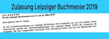 Auszug aus der Zulassung als Aussteller auf der Leipziger Buchmesse 2019.