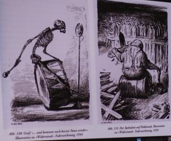 Anhand vieler Reproduktionen konnten sich die Gäste ein Bild vom Schaffen A. Paul Webers machen.