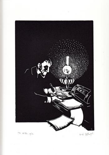 Ein Beispiel für die Arbeiten von Helene Bautista ist ihr Linolschnitt »The Writer«.